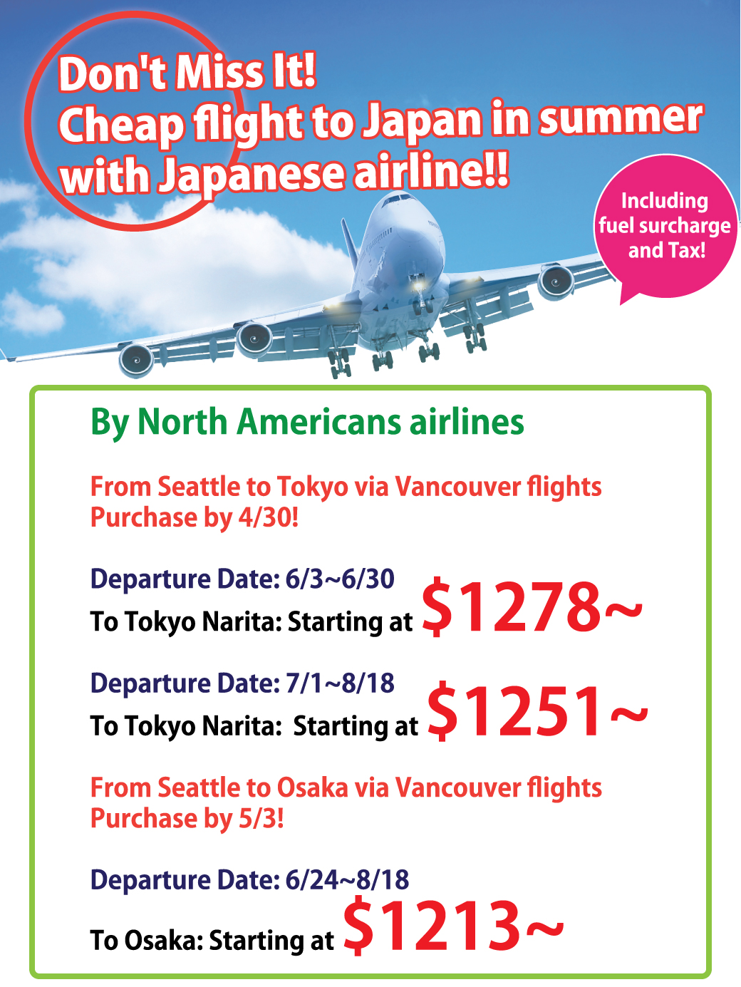 Don't Miss It! Cheap flight to Japan in summer with Japanese airline!!